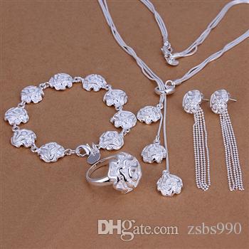 Hot 925 Sterling Zilver Rose Ketting Armbanden Ringen Oorbellen Sieraden Set Charm Bruiloft Geschenken Voor Vrouwen 5 Set / Lot