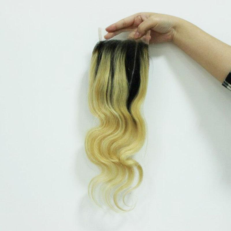 "4x4 ""Ombre 613 Peruvian Body Wave Hair With Closure Three Tone Färgfri Middle Peruvian Body Wave Människa Hårluckan"