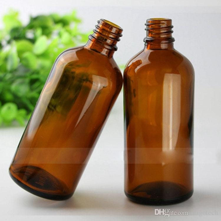 Amber 100ml Glass Dropper Bottles Pure Glass Round Shape Empty Bottles with Black Big Head Cap E Liquid Bottle In Stock Via DHL