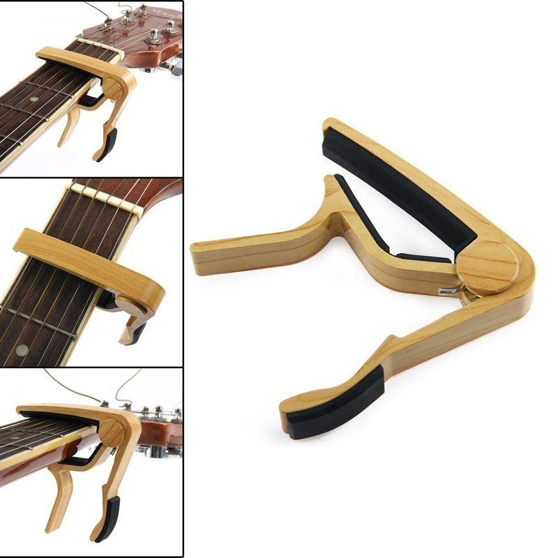6-سلسلة الغيتار الصوتية خشبي كابو مفتاح المشبك كليب على كابو مفتاح التغيير السريع لحن - 10PCS الكثير