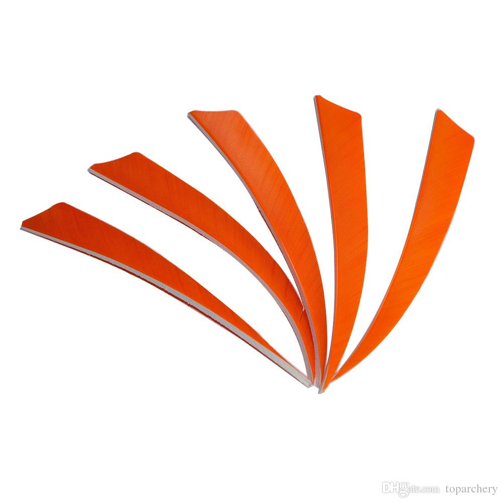 50pcs 5'' Right Wing Feathers for Glass Fiber Bamboo Wood Archery Arrows Hunting and Shooting Shield Orange Fletching
