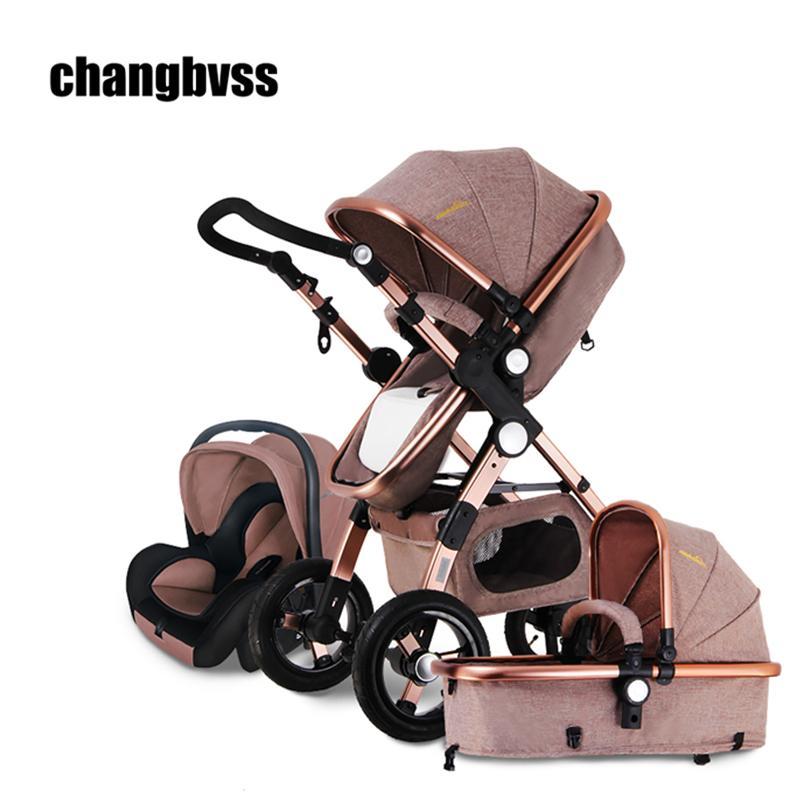European Baby Stroller 3 in 1,Baby Pushchair 3 in 1,High Landscape Fold Strollers for Children Travel System,Prams for Newborns