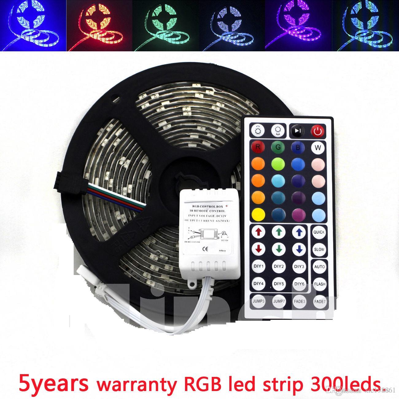 ТОП гарантия 5лет СМД 5050 5М 300leds 60leds/м RGB светодиодные полосы/ ленты RGB контроллер 44key