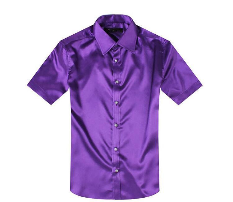 chemise à manches courtes hommes Simulation soie satin manches courtes hommes robe chemises camisa masculina camisas hombrev livraison gratuite