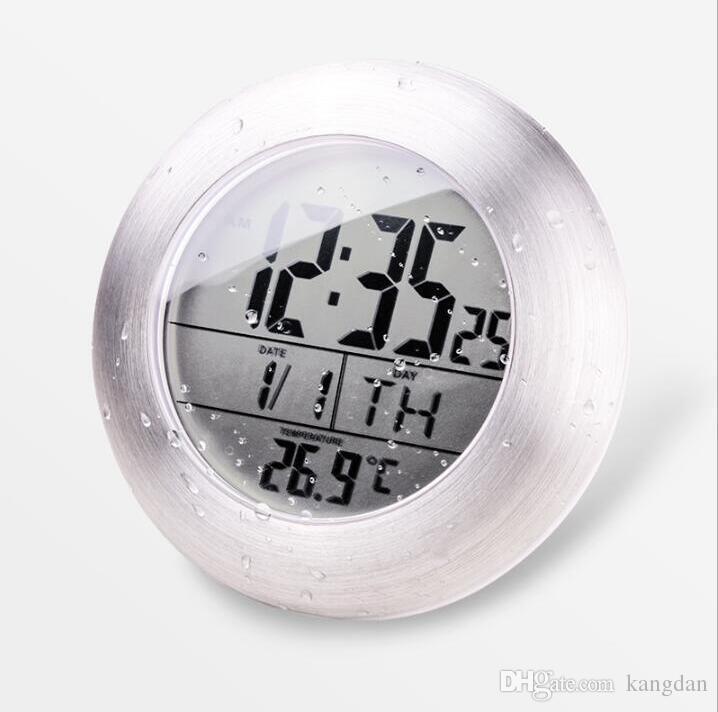 impermeabile orologio da parete Sucker orologi decorazione della casa decorazione orologio da tavolo hotel orologio washroon con display di temperatura e umidità