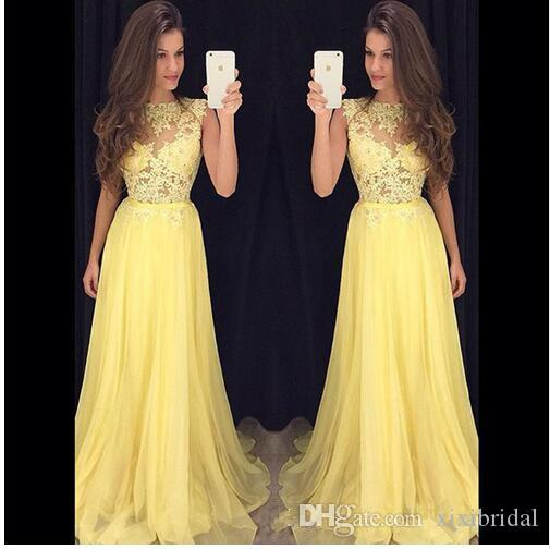 Hot Sale 2017 Yellow A Line Prom Dresses Jewel Neck Lace Applique See Through Chiffon Floor-Length Formal Evenign Gowns