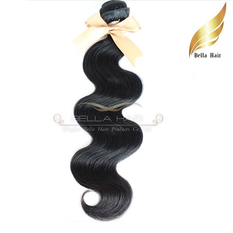 """12 """"-28"""" необработанные девственные человеческие наращивания волос натуральный цвет человеческих волос уток уток уток уток тела 2 шт. Двойной уток Беллахаир"""