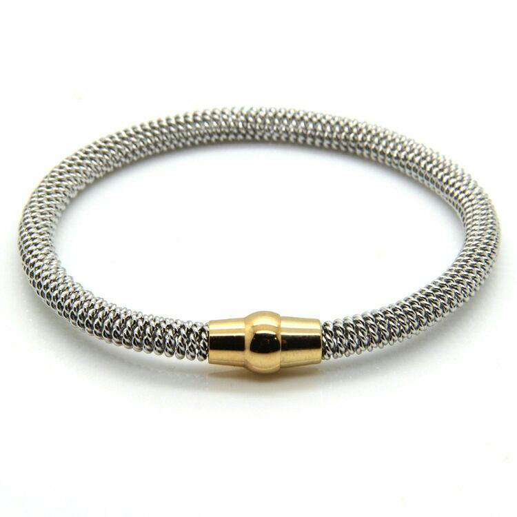Stainless Steel Spring Steel Cable Stretch Bracelet Magnet Buckle ...
