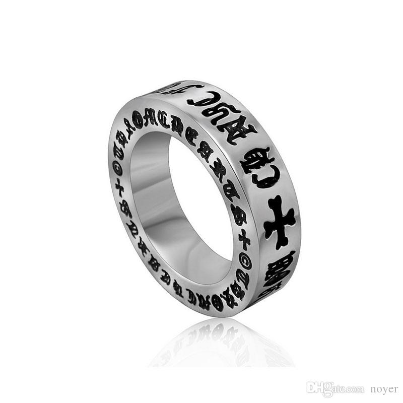 Men's vintage roman alphabet stainless steel rings designer titanium steel metal mixed tail rings jewelry accessories