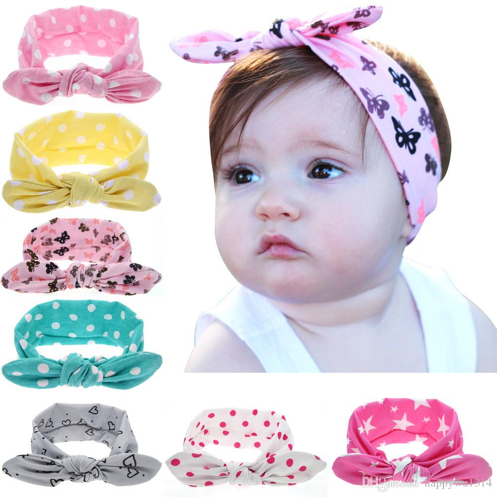 8 Pcs//lot Headband Baby Newborn Rabbit Hair Bow Ears Cotton Hair Accessories