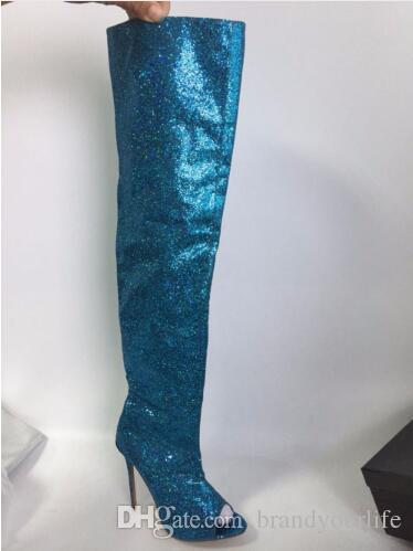 2017 новых женщин бедро высокие блестками ткань сапоги сексуальная над колено высокий Гладиатор пинетки тонкий каблук peep toe botas mujer синий обувь