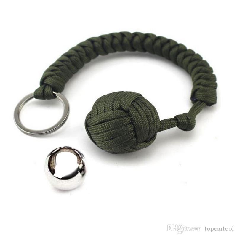 Paracord Monkey Fist Steel Ball Keychain Self Defense Keyring Outdoor Tool Mini