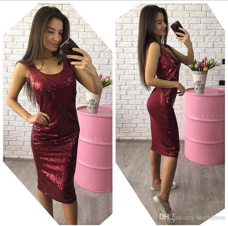 Modest Red Sequin Party Dresses Sexy Scoop Knee Length Short Evening Dresses Cheap Vestidos Festa Fashionable Sheath Dresses Party Evening