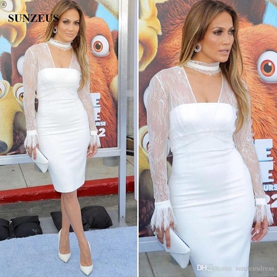 Großhandel Mantel Knielangen Weißen Abendkleider Mit Langen Ärmeln Spitze  Jacke Promi Kleider Zum Verkauf Kurze Formale Party Kleid Von Sunzeusdress,