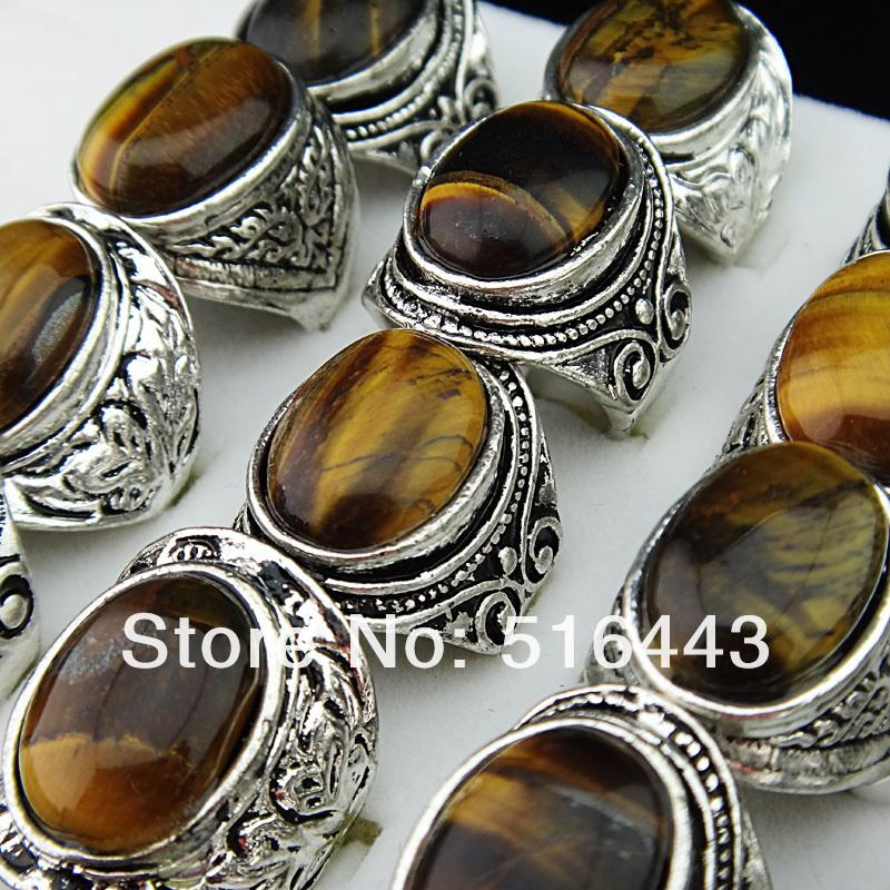 Promotion 20pcs Vintgage Antique Silver Natural Tiger eye Stones Retro Women Mens Cool Rings Wholesale Jewelry Lots A-653