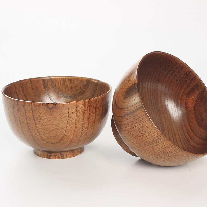 간단한 천연 나무 식기 손으로 방수 등급 대추 나무 수제 나무 그릇 녹색 원형 나무 그릇