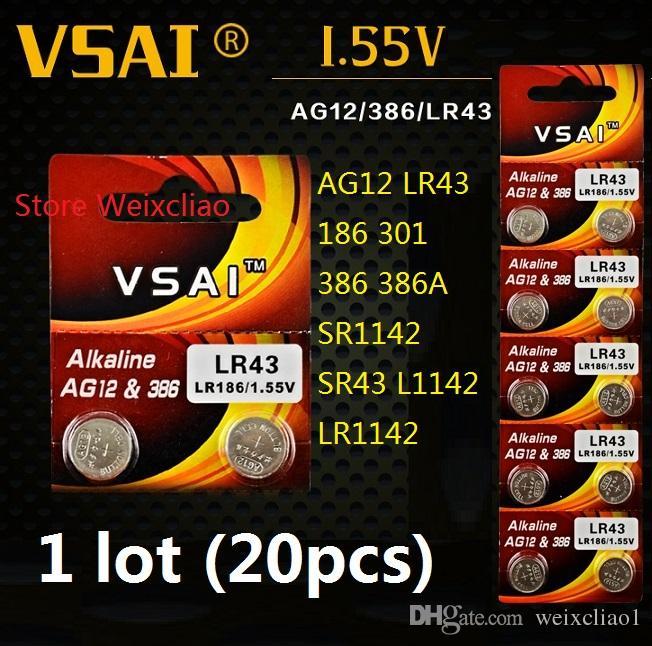 20 قطع 1 وحدة AG12 LR43 186 301 386 386A SR1142 SR43 L1142 LR1142 1.55 فولت بطاريات زر خلية البطارية القلوية عملة vsai مجانية
