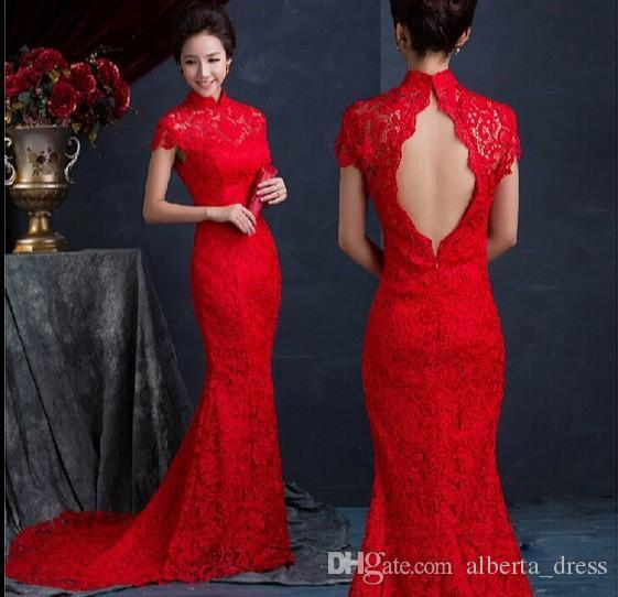 Cheap!Evening gowns High Quality Red Traditonal Chinese Dress High Neck Backless Fashion Vintage Lace Long Length Cheongsam Evening Dresses