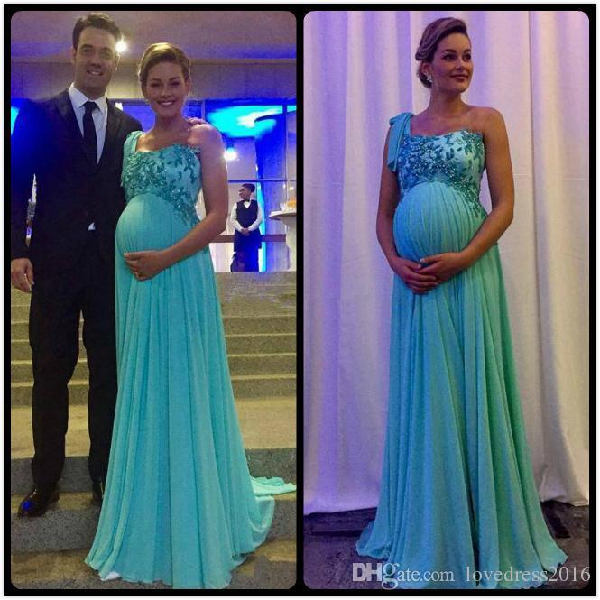 2019 Abiti da sera di maternità Una spalla Applique Zipper Back Prom Dresses Long Sweep Pregant Vestidos De Novia