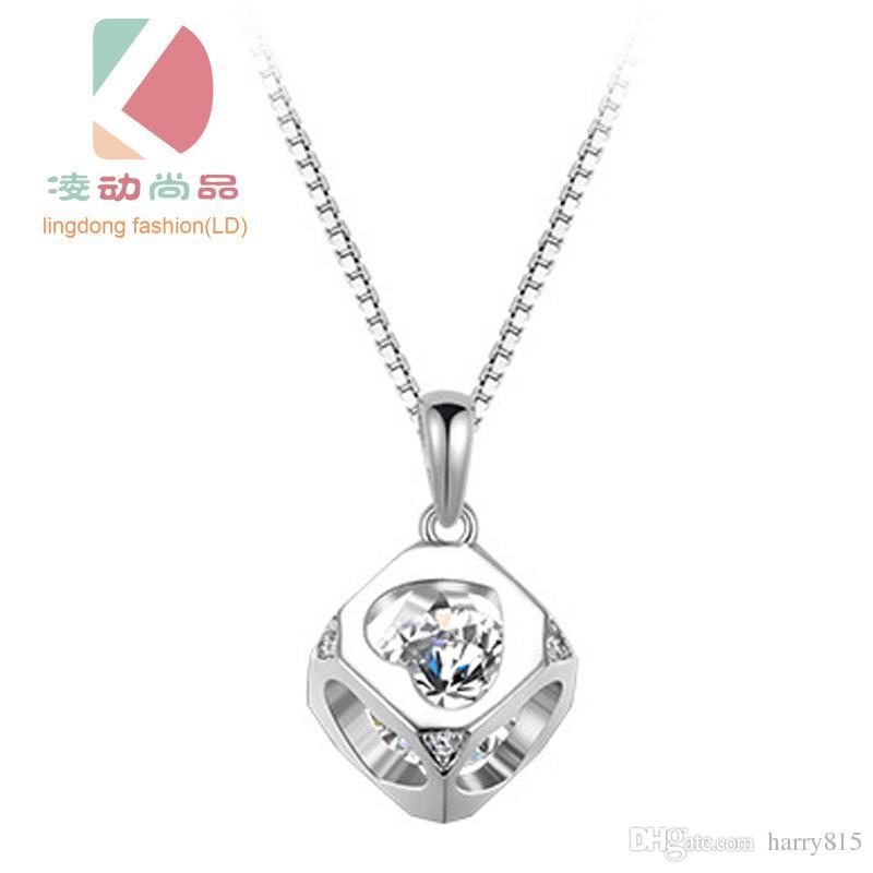 Lingdong moda 2016 o novo s925 prata Cubo Pingente em forma de Coração oco clavícula cadeia Amor presente colar de magia frete grátis