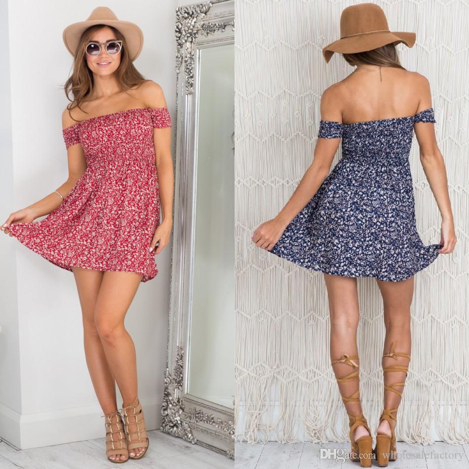 Sexy Off Shoulder Print Summer Casual Dress High Waist Pleated Maxi Dress Women Vintage Beach Boho Dress Vestidos FS2015