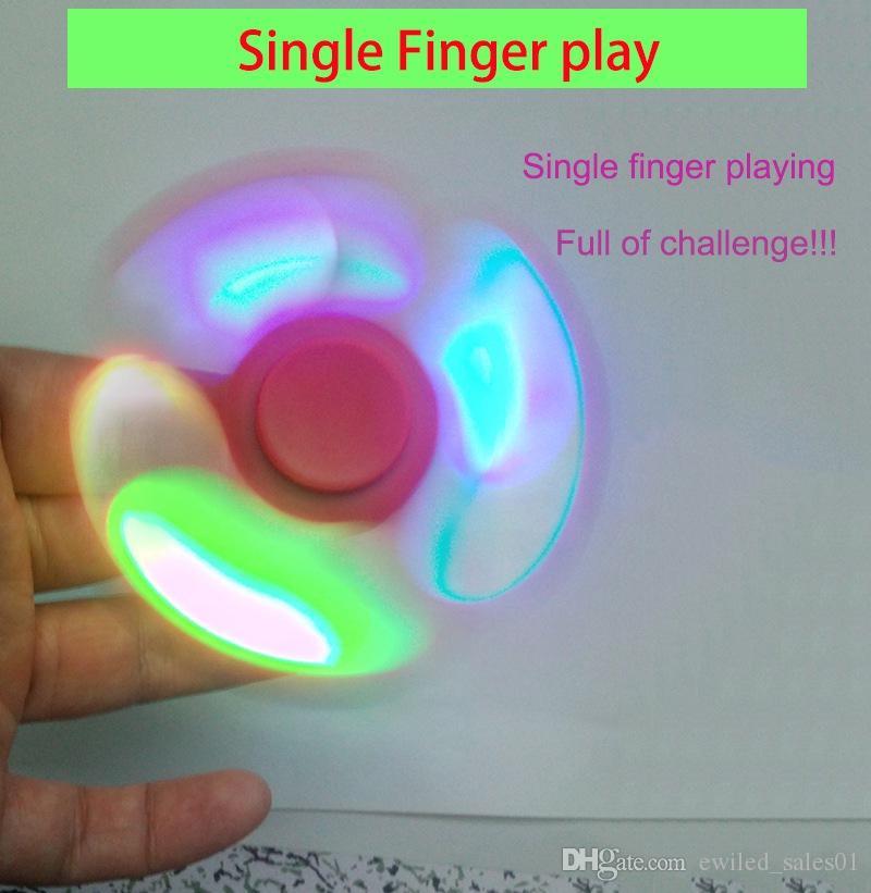 50 pz / lotto Led giradischi a mano filo di plastica Fingertip Gyro altoparlante bluetooth per ADHD e HandSpinner giocattoli per EDC decompressione ansia