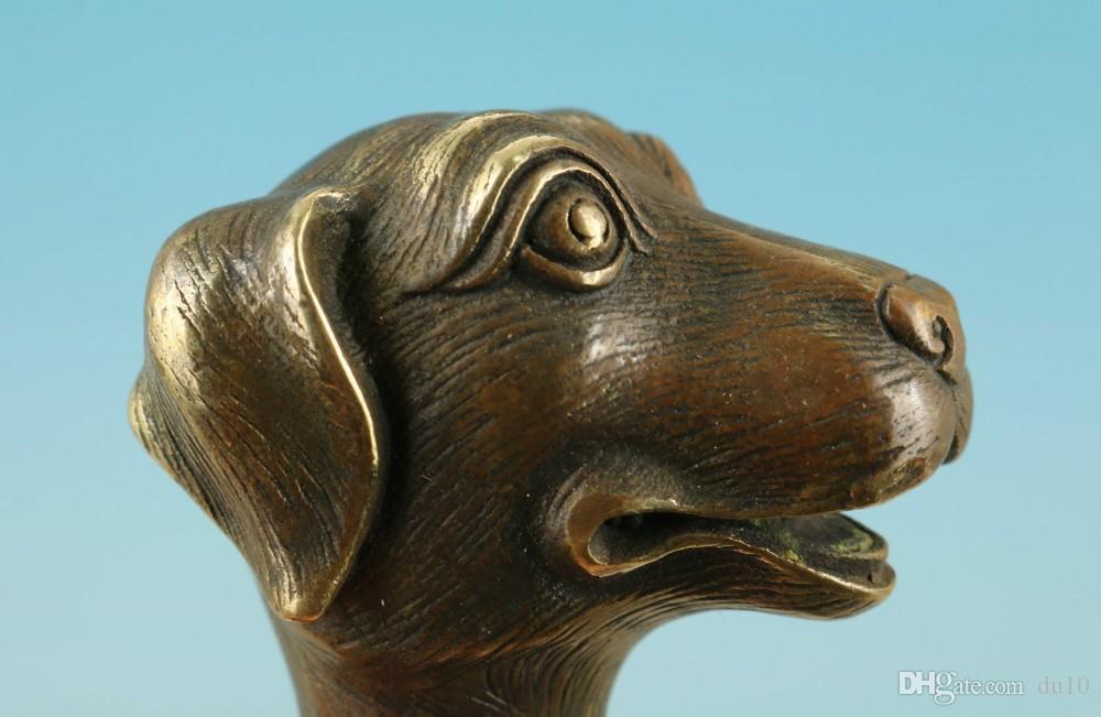 Çin Eski Bronz El Yapımı Oyma Köpek Heykeli Toplamak Baston Kafa