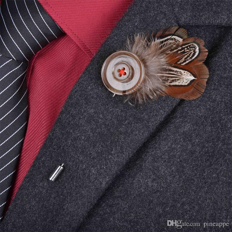 New Bohemian men feather Brooch stick lapel pin suits Boutonniere animal feather button brooches jewelry brown broches For wedding 6 color