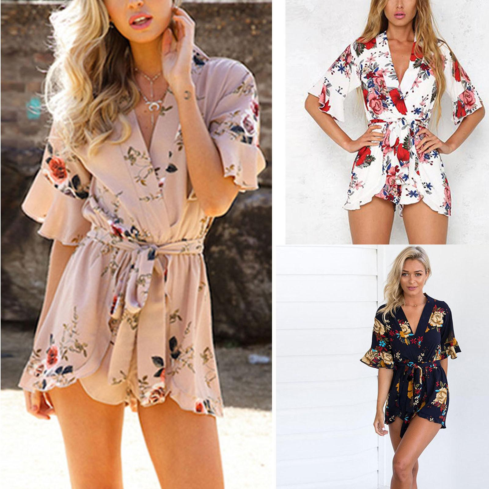 wide selection temperament shoes reputable site 2019 Boho Womens Summer Floral Playsuit Shorts Ladies Jumpsuit Rompers  Holiday One Piece V Neck Flower Casual Loose Sun Dress From Erinzhang,  $8.54 | ...
