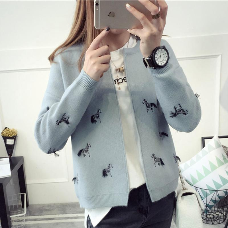 Zebra gros-animaux Broderie Gilet Femme Automne Hiver 2016 Pull New Lovely Fashion Bonneterie Cardigans Femme Pulls Tricot