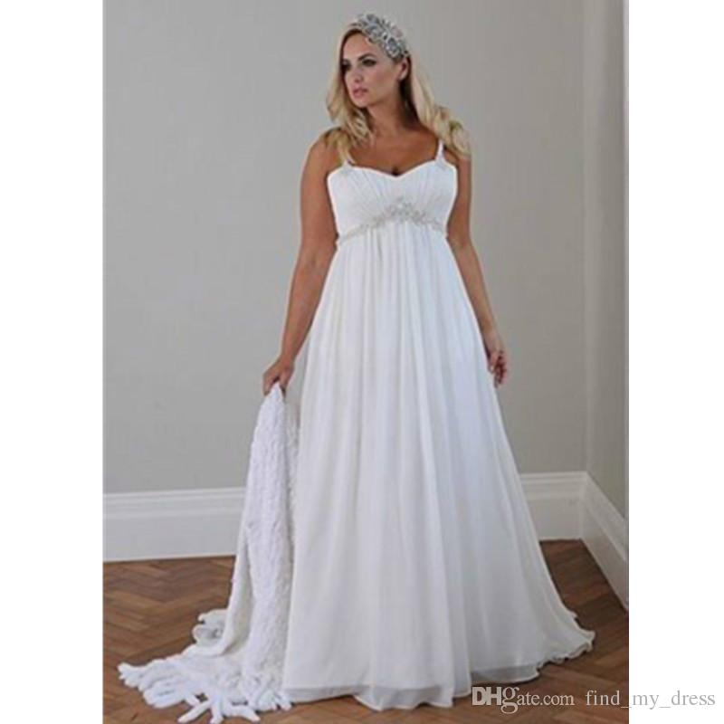 Discount Plus Size Summer Style New Wedding Dresses Draped Crystal  Spaghetti Straps Chiffon Long Beach Bridal Gowns Pleats Casual Custom Made  Simple ...