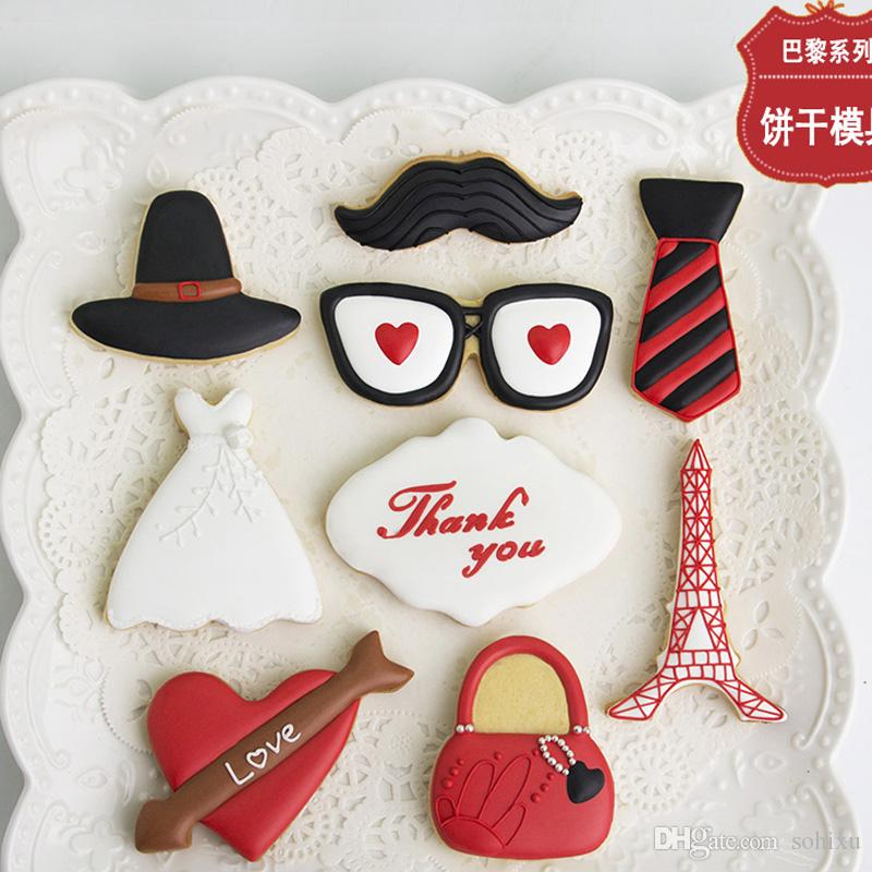 9pcs Fashion Moustache Dress Eiffel Tower Bag patisserie reposteria Metal Cookie Cutter Fondant Cake Decorating Tools Biscuit Pastry Mould