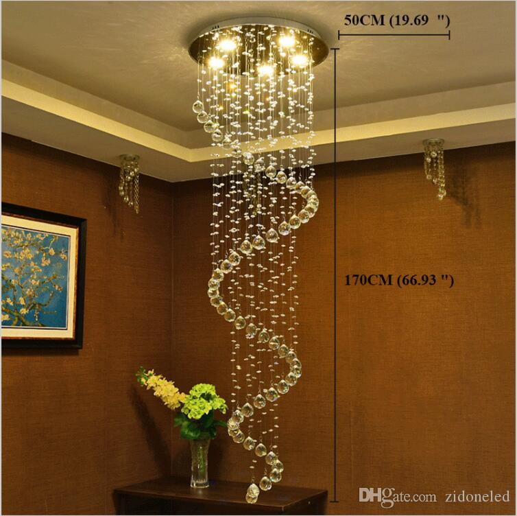 LED Modern Crystal chandeliers stair pendant lights fixtures indoor spiral Hanging Lights Deco Lamp Lighting for Hotel Hall Stairs