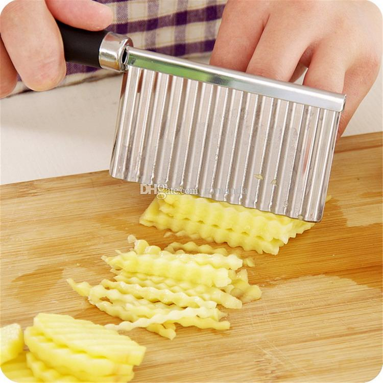 Stainless Steel Potato Chip Dough Vegetable Crinkle Wavy Cutter High Quality Slicer Fruits Knife Food Cocina Gadget DHL Shipping Free