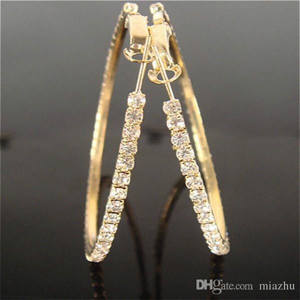 Nieuwe Hot Sale 12 Pairs Gold Color Big Clear Crystal Earring Hoop Circle