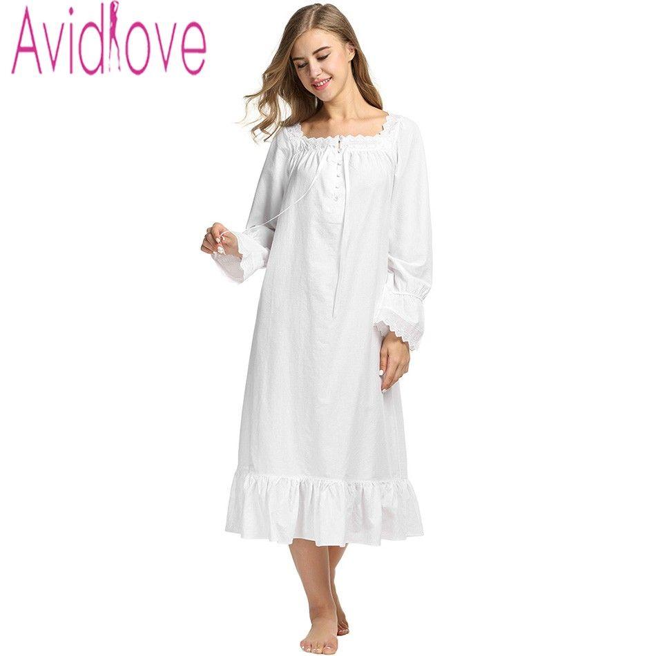 Toptan-Avidlove Kadınlar Beyaz Uyku Elbise Pamuk Uzun Kollu Gecelik Seksi Katı Pijama Bahar Sonbahar Ev Elbise Uzun Robe Lady için