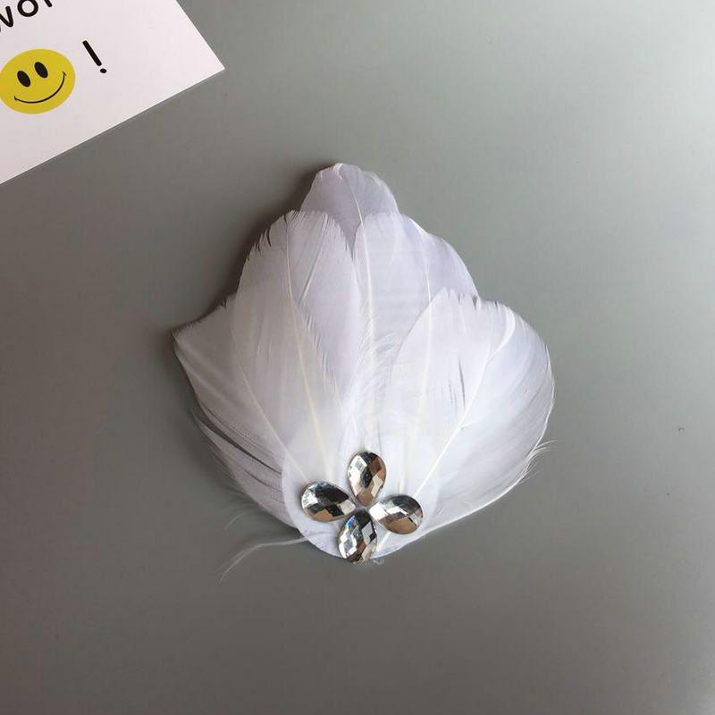 Tocado de novia para mujer, pluma blanca, gorro pequeño, pinza para el cabello, tocado, ballet, cisne, escenario, niño, adulto
