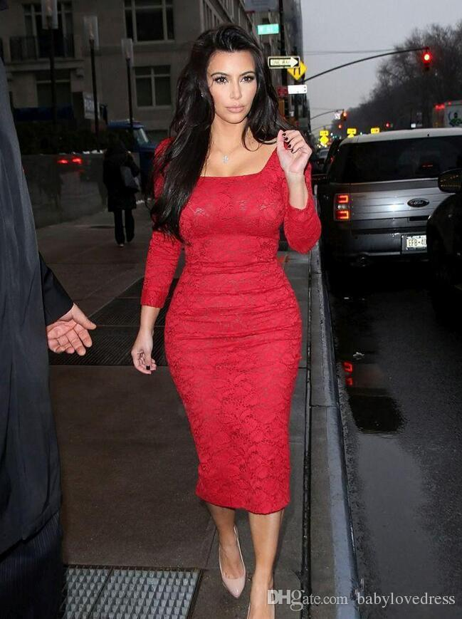 Kim Kardashian Celebrity Lace Tea Length Short Prom Dresses 2017 Square Neck Long Sleeves Vestidos De Festa