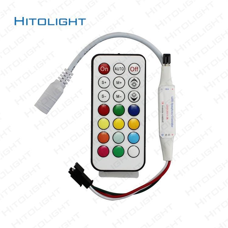 HITOLIGHT 5-24V WS2812 WS2811 LED Strip Controller Magic RGB Light Controller with 21 Key IR Remote Mini Symphone Pixel Controller