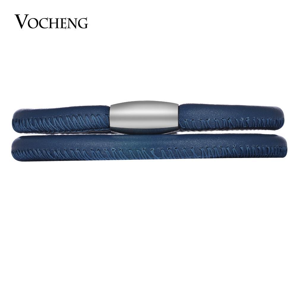 VOCHENG 끝없는 매력 양 가죽 팔찌 교환 쥬얼리 싱글 더블 팔찌 스테인레스 스틸 자석 걸쇠 VC-323