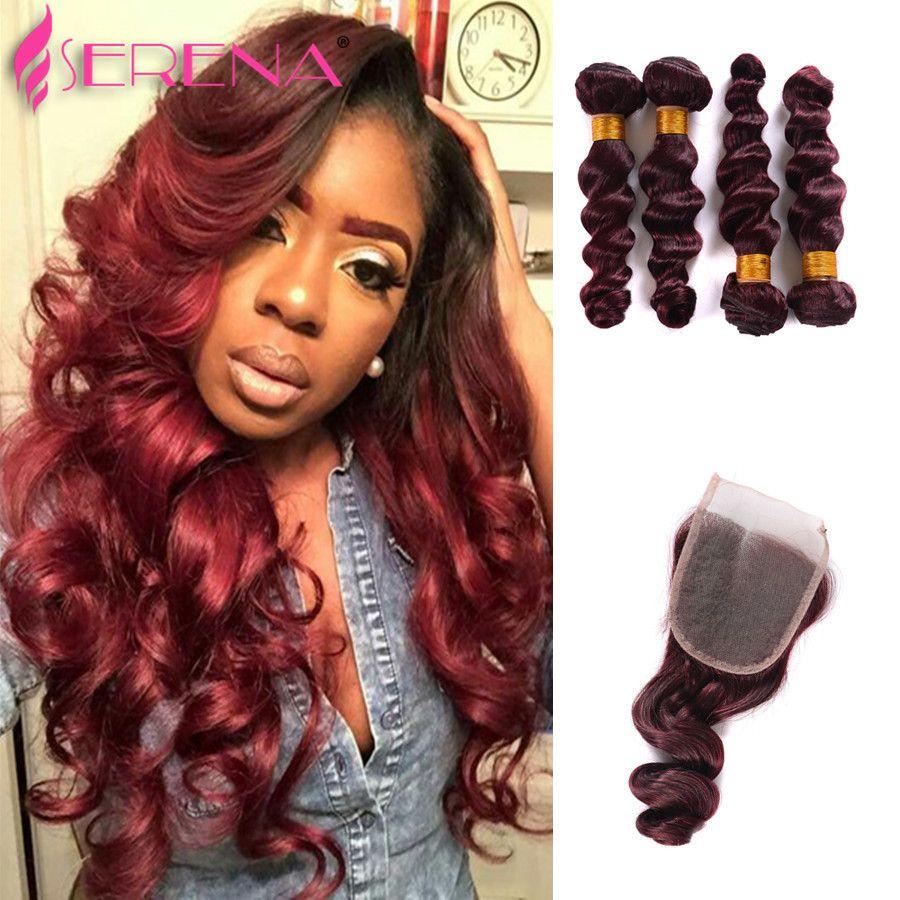 99j/Burgundy Ombre Hair Extensions Indian Hair Bundles With Closure Burgundy Hairs Bundledeals Afro Hairs Wine Red Loose Wave Hair Weaves