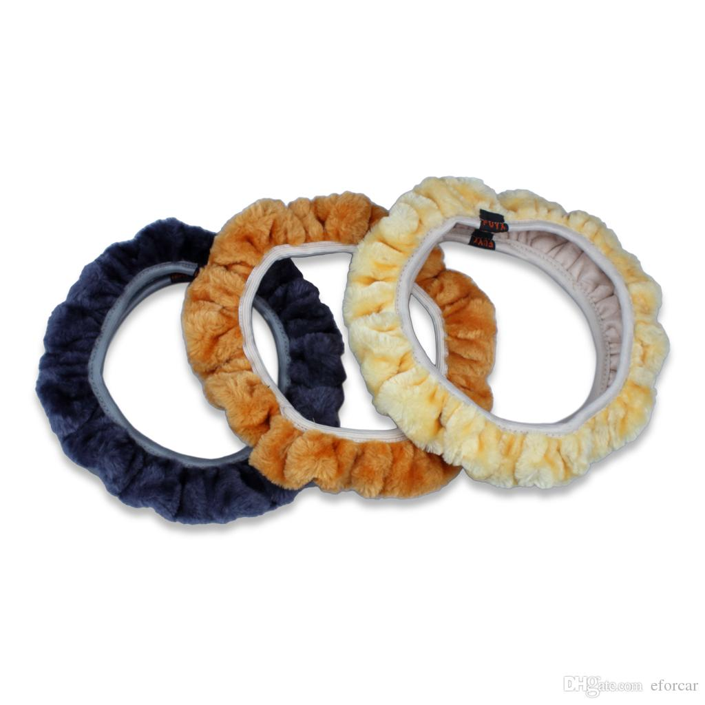10Pcs/Lot Car Steering Wheel Decals Winter General Plush Lint Steering Wheel Cover Soft Imitation Wool Accessories