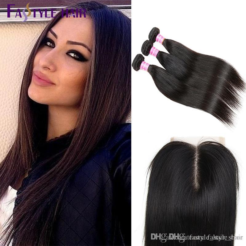 Hot Selling! Peruvian Straight 3 Extension Bundles With Lace Closure UNPROCESSED Brazilian Malaysian Indian Virgin Human Hair Wefts