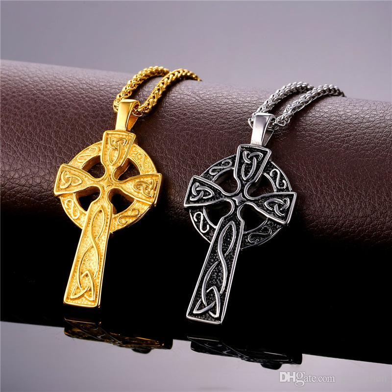 Christian Triquetra ODIN Paslanmaz Çelik Altın Kolye Takı Celtic Viking Üçlü Haç 18 K Kolyeler Boynuz KSHMD Kaplama