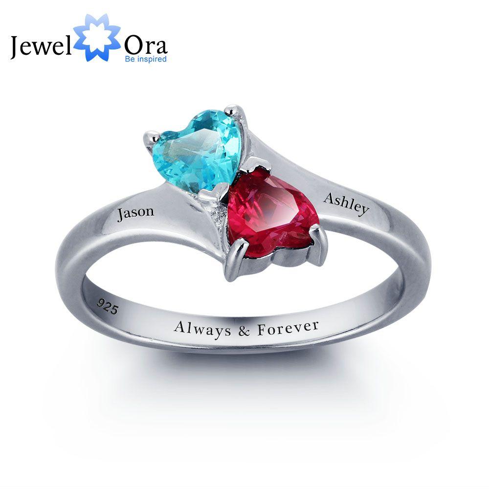 Yizhan Personalizado Infinito Amor Promise Anel Duplo Coração Pedras 925 Sterling Silver Jewelry Caixa de Presente Livre (Silveren SI1789)