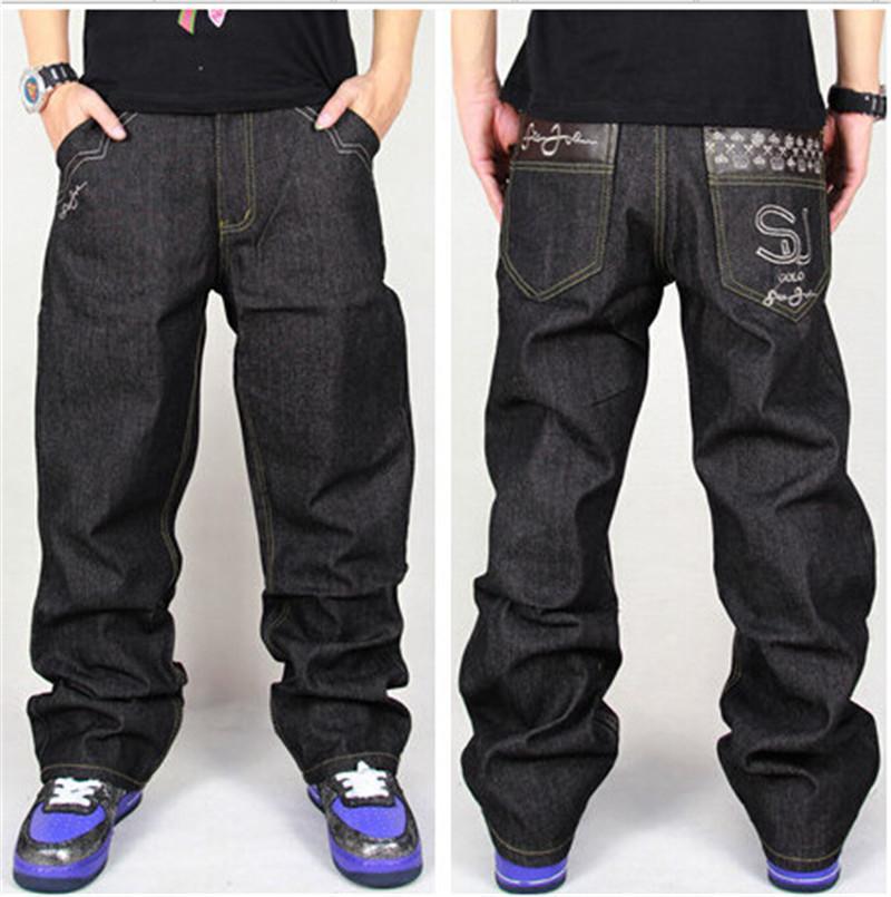 Оптовые джинсы мужские мешковатые для повседневных свободных бедер рэп брюки стиль свободно большие джинсы хмель мальчик черный хип-хоп KJMLQ