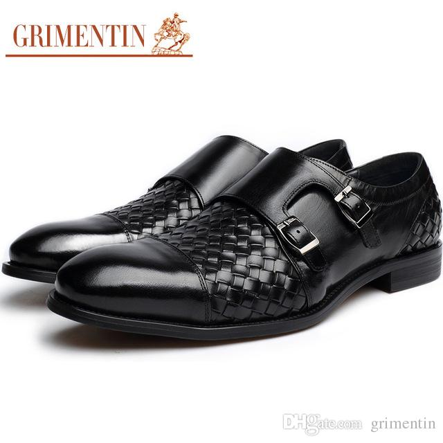 GRIMENTIN Hot sale Italian fashion formal mens dress shoes buckle braided style oxford shoes genuine leather business wedding men shoes