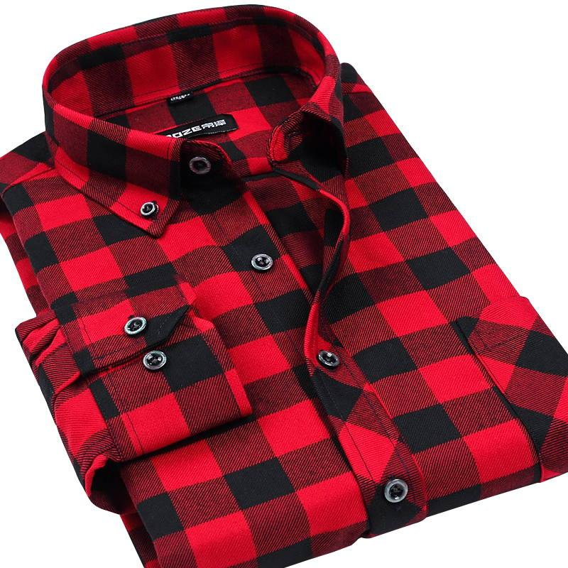 Wholesale- Fall Winter 2017 New Mens Casual Plaid Shirts Long Sleeve Slim Fit Comfort Soft Flannel Cotton Shirt Leisure Styles Man Clothes