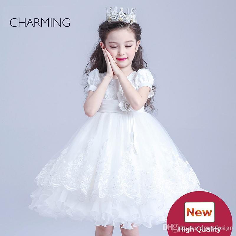 Pageant Prinzessin Kleider Designer Kleider für Kinder Weiß Rundhals Gürtel Dekoration Crepe Stoffe Bubble Skirt