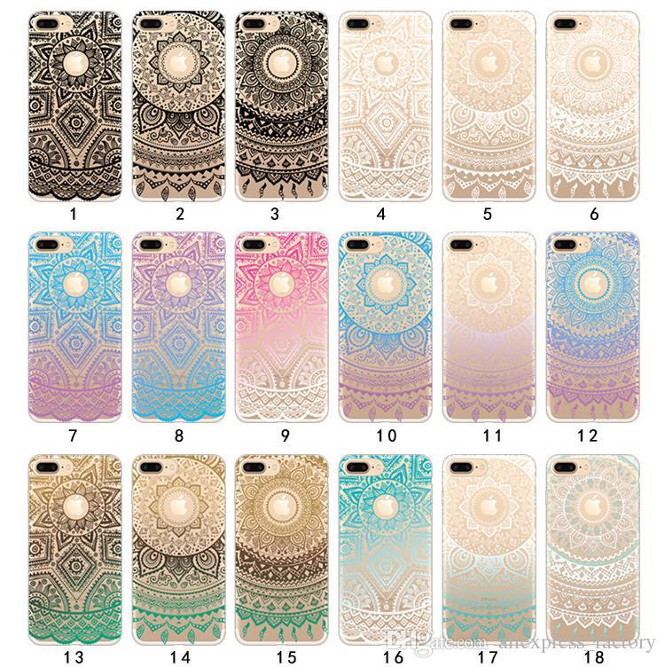 Henna bianco floreale paisley fiore mandala colorato paesaggio dipinto morbido tpu gel case cover trasparente per iphone x 8 7 plus 8 6 6 s